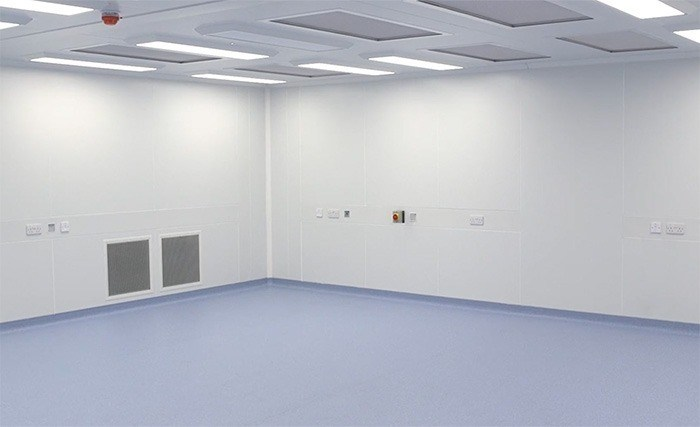 Flush cleannroom with air return panels, service raceways & LED lighting