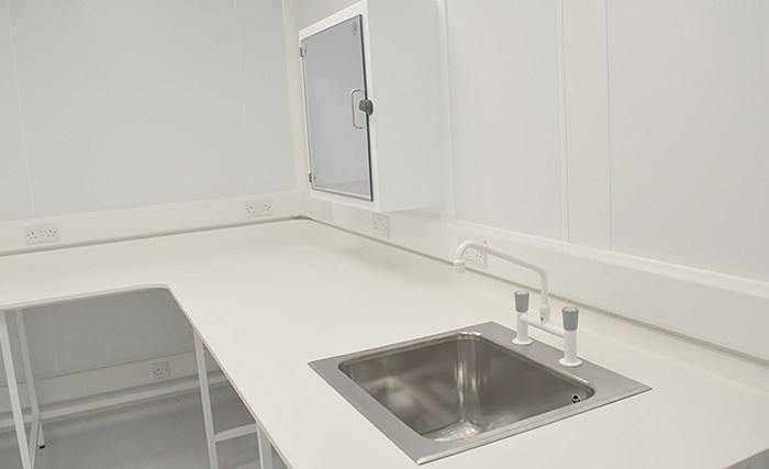 Sealwise anti-microbial furniture laboartory fitout - including benching and sinks