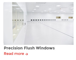 Precision flush cleanroom windows